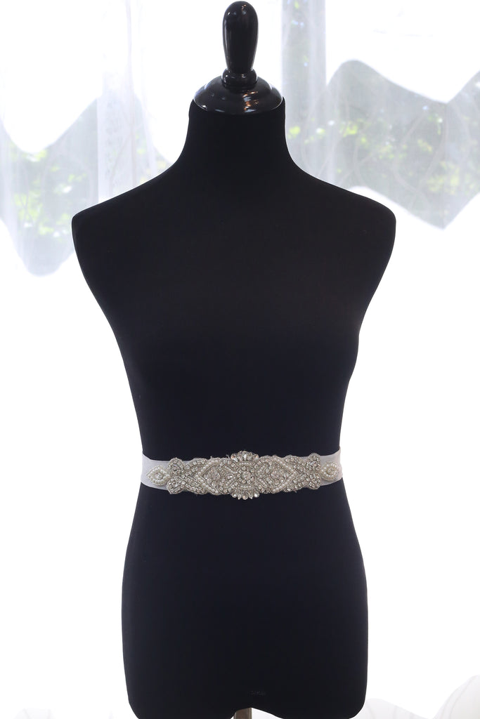 Czech Rhinestone and Pearl Beaded Classic Wedding Dress Sash