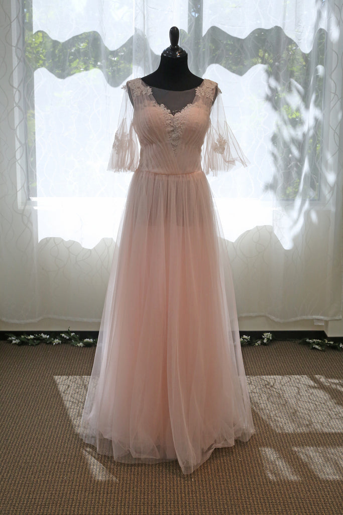 Pink Cape Soft Tulle A-line Light-weighted Prom Dress