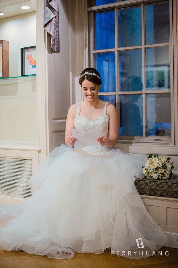 e4e65e427a42 Queen Arrival - Selena Huan Crystal & Pearl Beaded Lace Strapless Layered  Skirt Ball Gown