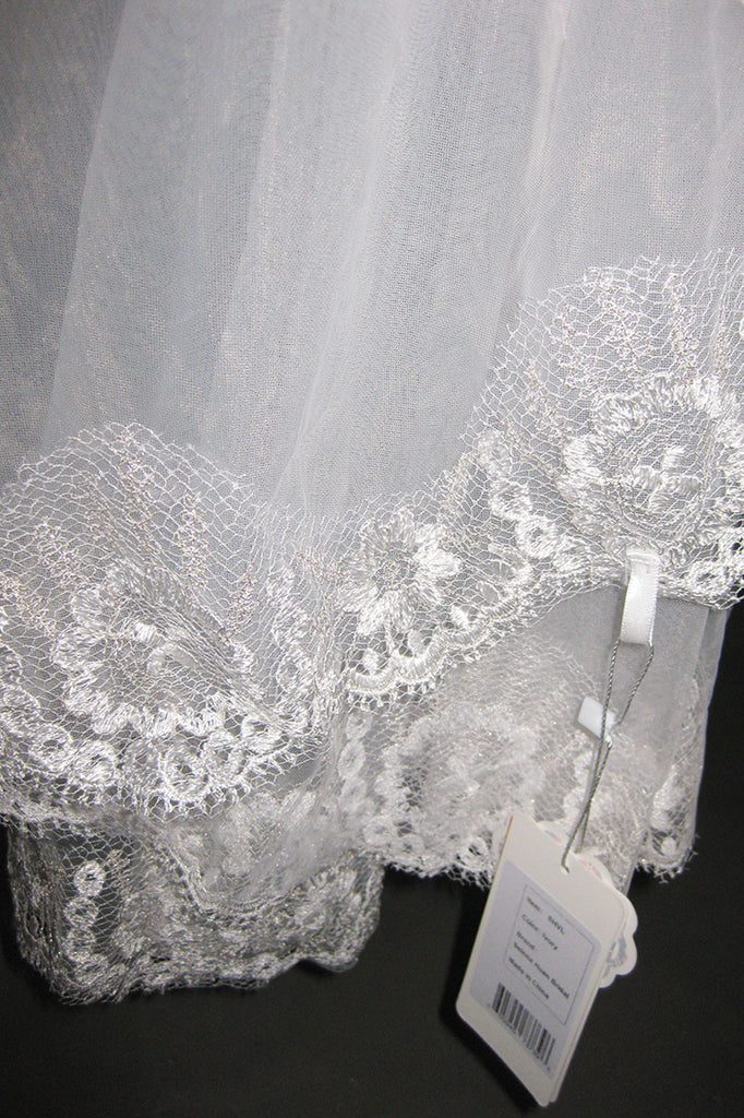 French lace hem short veil
