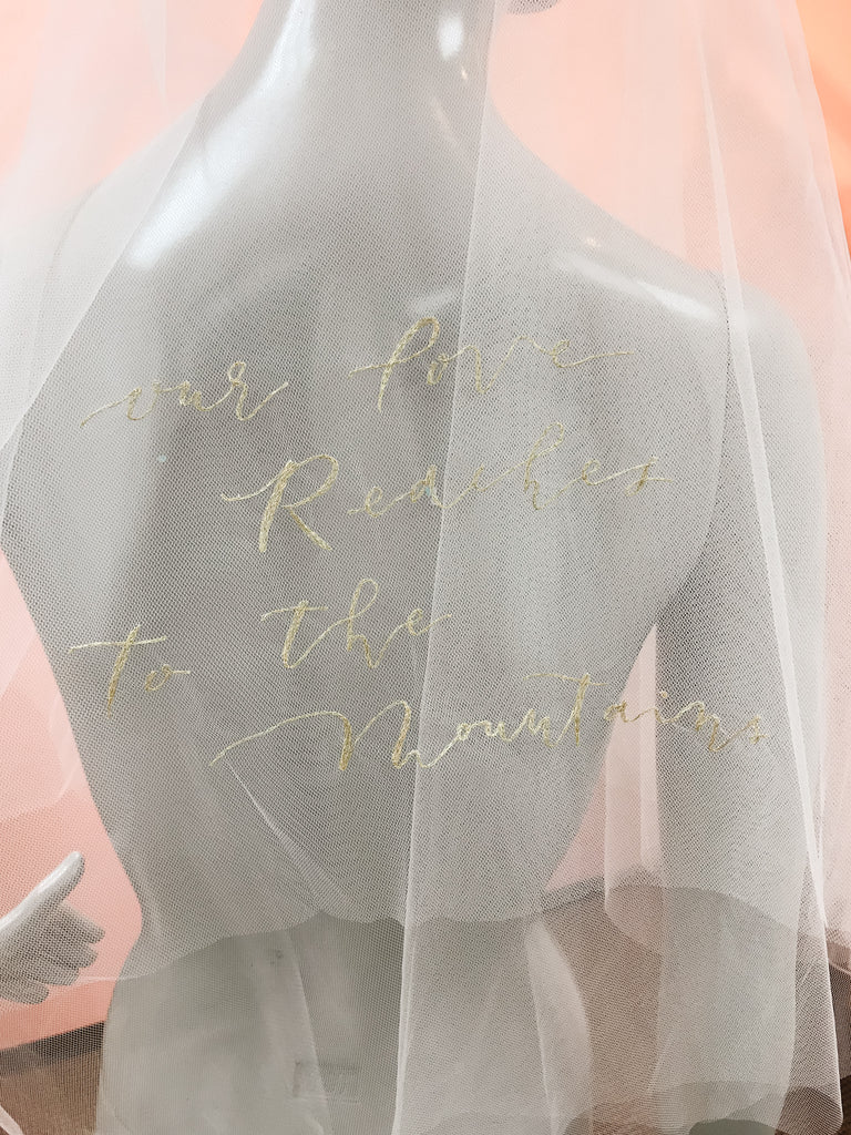 DIY personalized word embroidery double-layer finger tip length veil