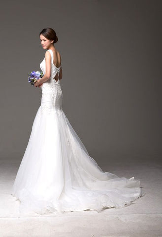The Little Mermaid - Selena Huan Pearl Beaded Metallic Embroidered Appliqués Lace Mermaid Gown