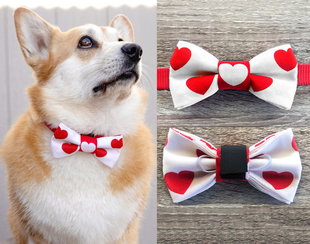 Red Heart White Dog Collar Bow Tie - Holiday Celebration Dog Bow