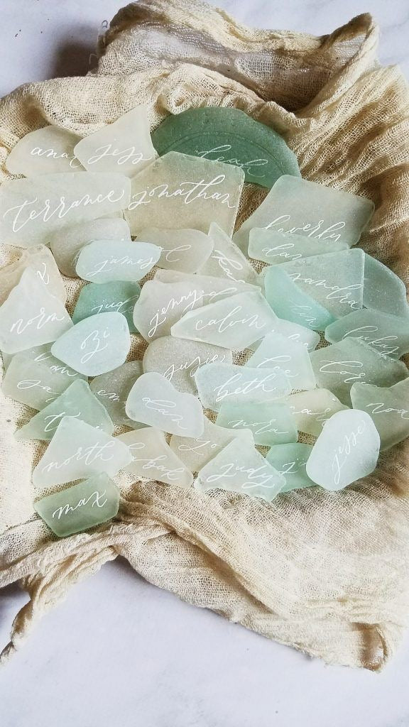 Unique Natural Shell | Stone | Seaglass | Wood Custom Handwritten Calligraphy Place Card | Escort Card