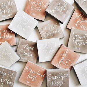 Custom Handwritten Marble Square | Hexagon | Lantern Tile Calligraphy Place | Escort Card
