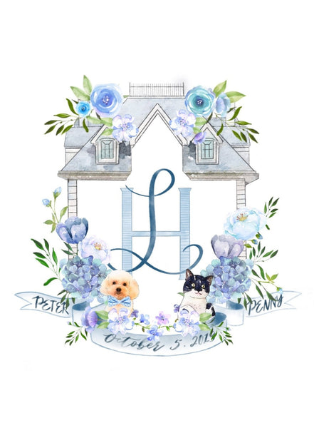 Custom Digital Wedding | Baby Shower Watercolor Crest | Portrait Logo