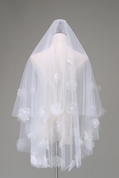 Waist-length 3D floral beaded layered veil