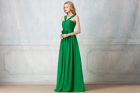 Twisted haltered full-length chiffon bridesmaid dress