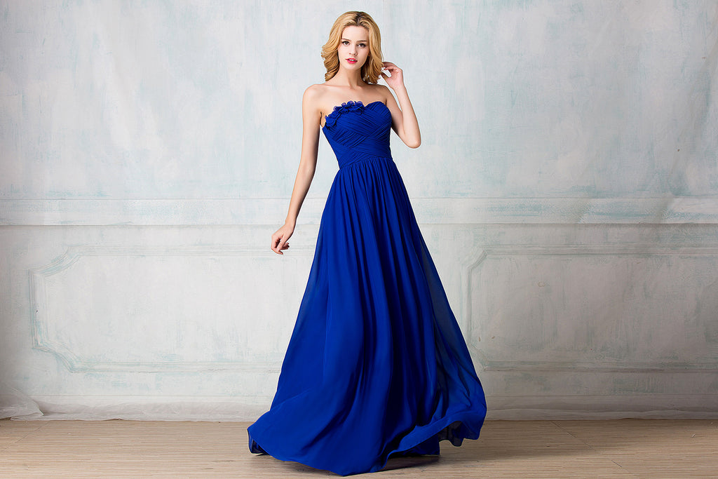 Sweetheart strapless full-length chiffon bridesmaid dress