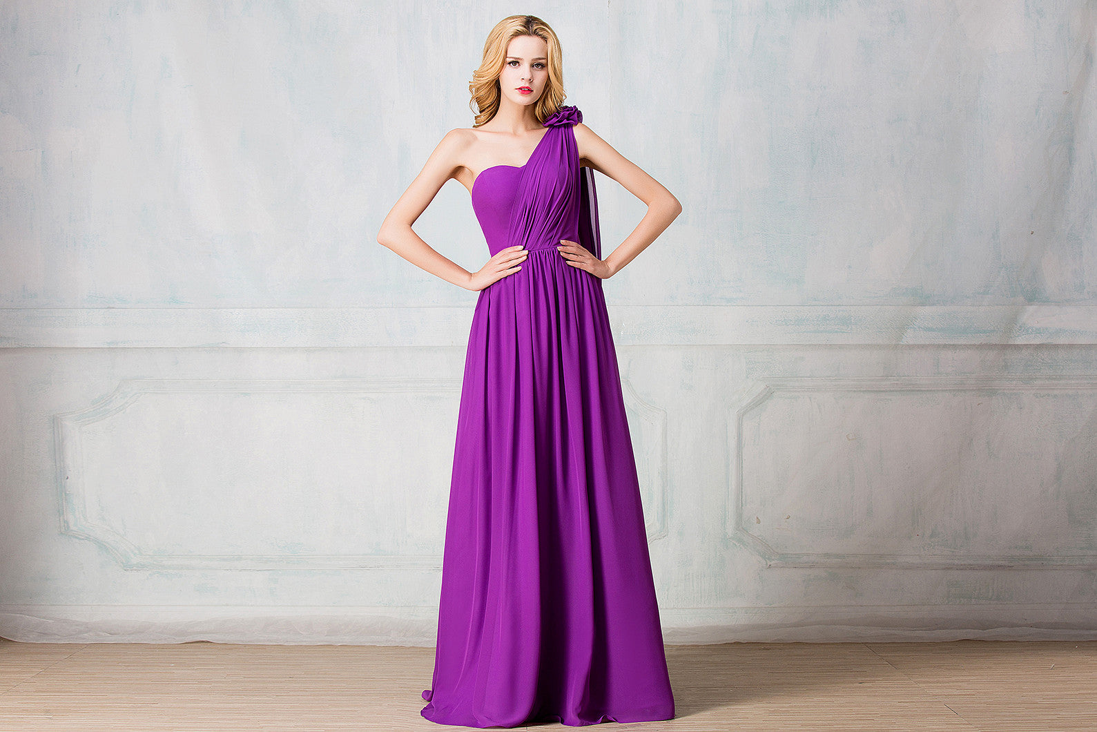 One shoulder full length chiffon bridesmaid dress selenahuanbridal one shoulder full length chiffon bridesmaid dress ombrellifo Gallery