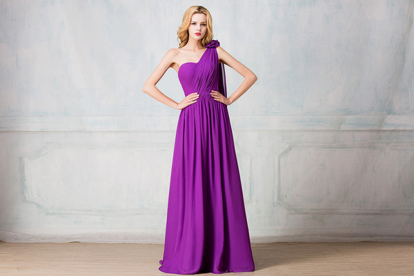 One-shoulder full-length chiffon bridesmaid dress