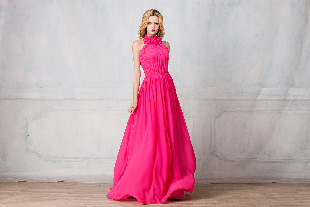 Haltered full-length chiffon bridesmaid dress