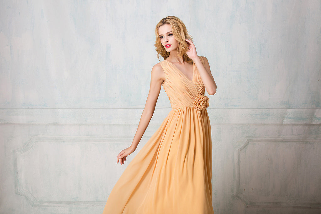 V-shape neckline full-length chiffon bridesmaid dress