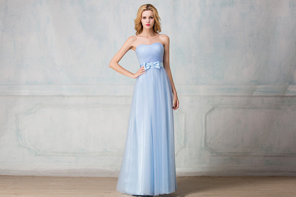Sweetheart strapless full-length tulle bridesmaid dress