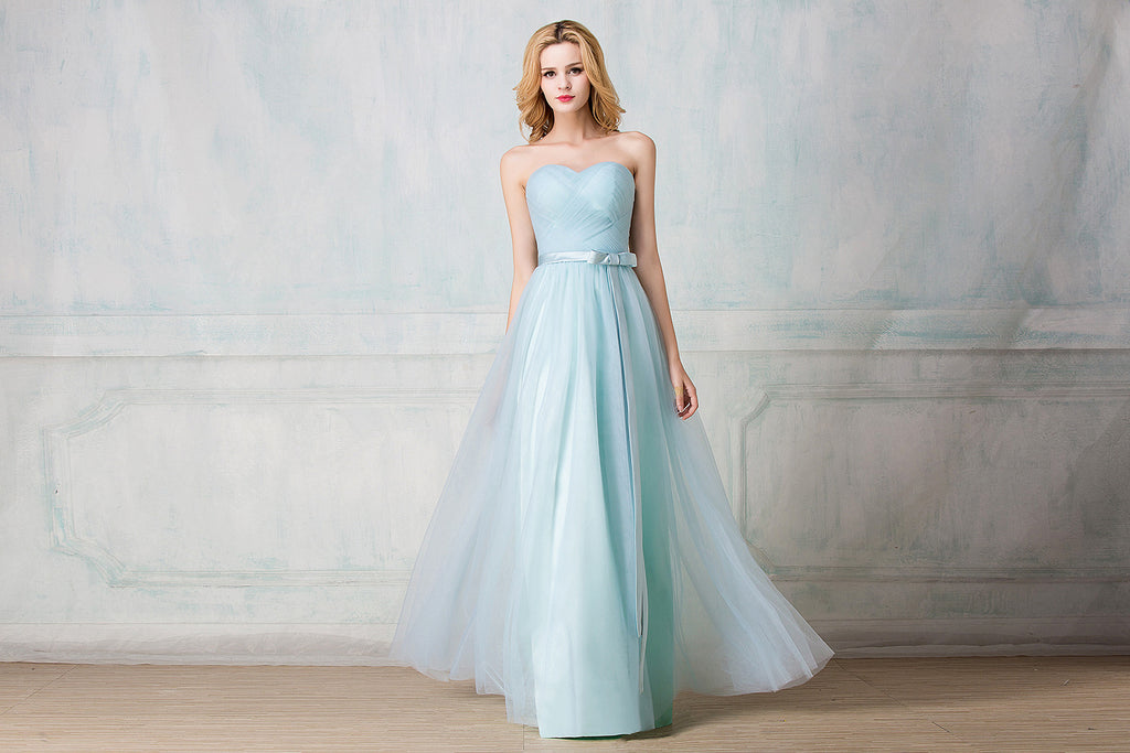 Sweetheart twisted wrinkle full-length tulle bridesmaid dress