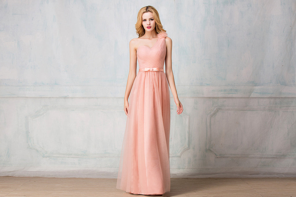 One-shoulder  full-length tulle bridesmaid dress