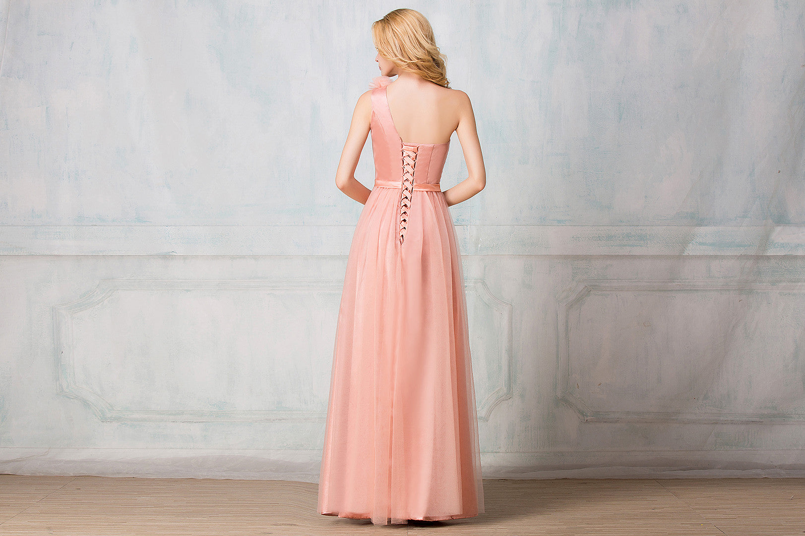 One shoulder full length tulle bridesmaid dress selenahuanbridal one shoulder full length tulle bridesmaid dress ombrellifo Images