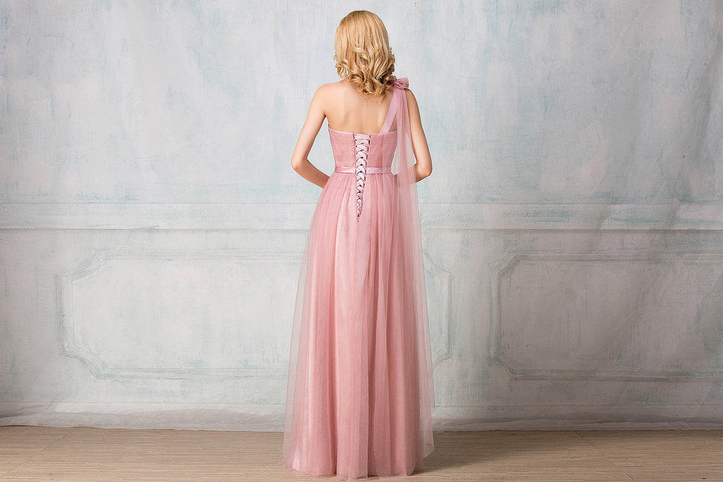 Sweetheart one-shoulder full-length tulle bridesmaid dress