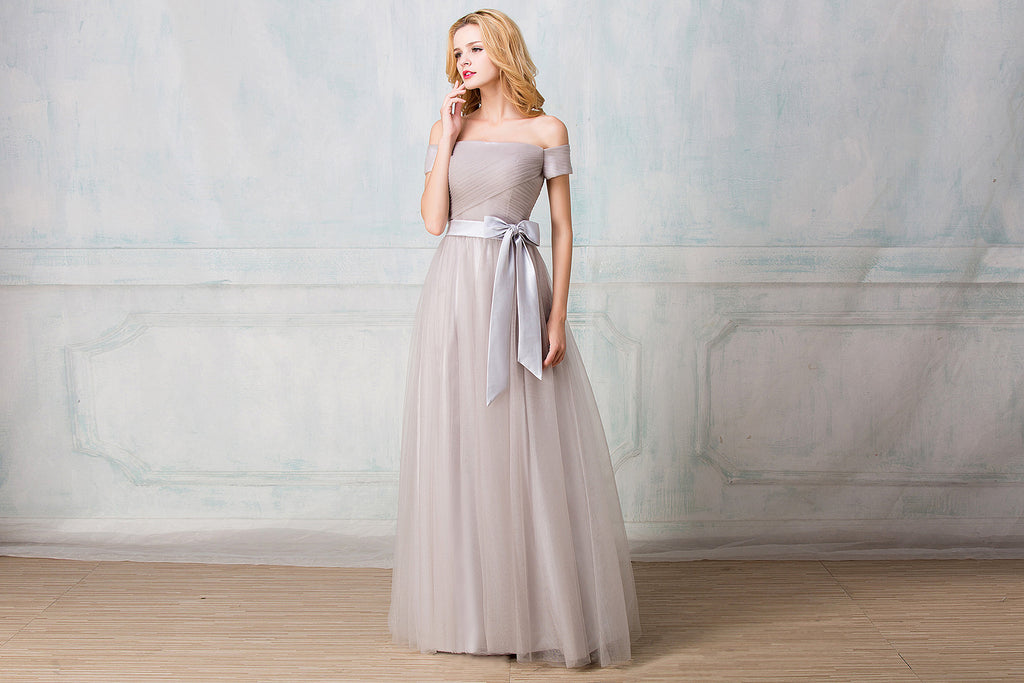 Off-shoulder full-length tulle bridesmaid dress
