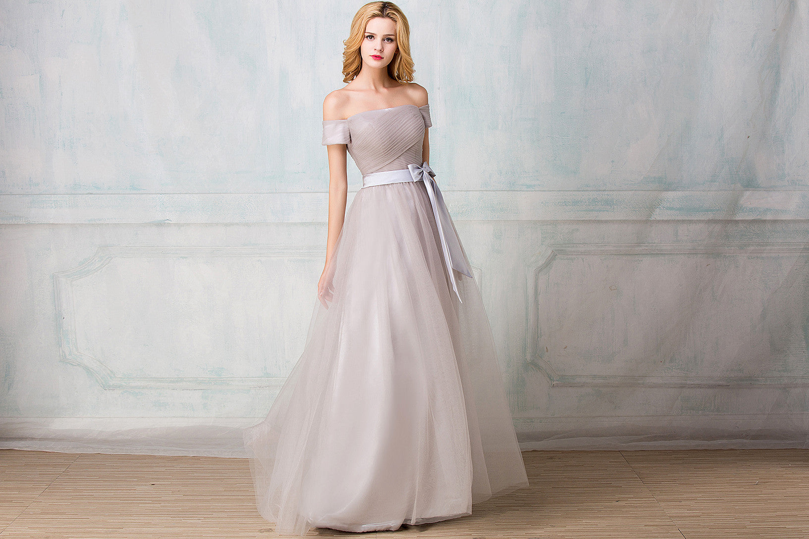 Off shoulder full length tulle bridesmaid dress selenahuanbridal off shoulder full length tulle bridesmaid dress ombrellifo Images