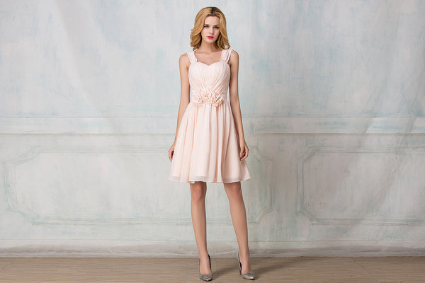 Cape-shoulder cocktail-length chiffon bridesmaid dress