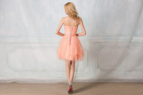 Sweetheart twisted wrinkle cocktail-length tulle bridesmaid dress
