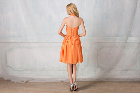 Haltered cocktail-length chiffon bridesmaid dress