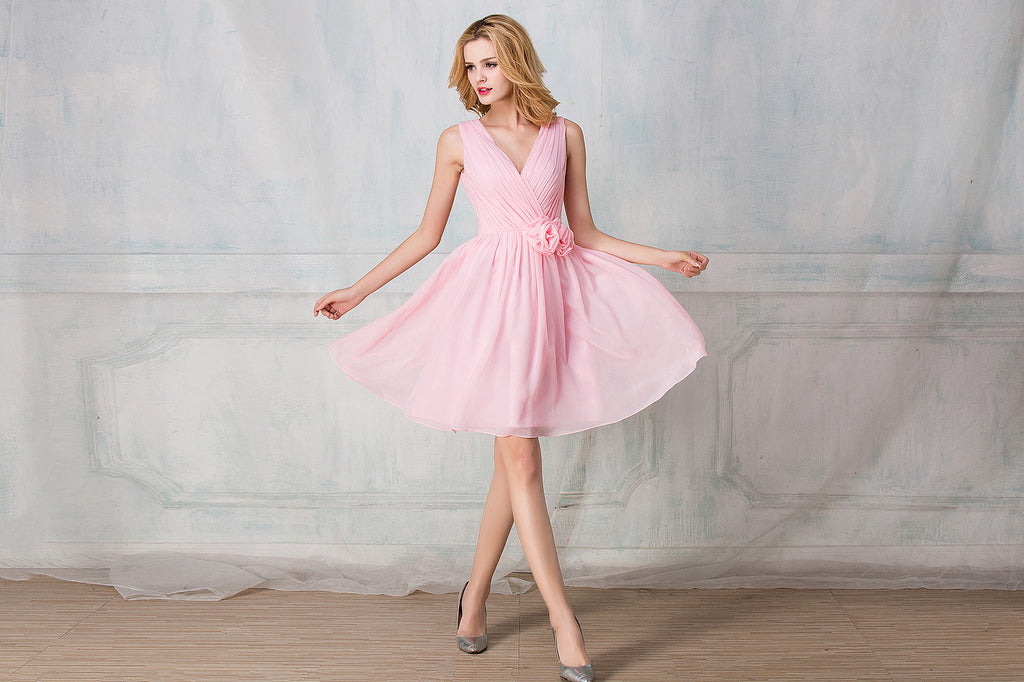 V-shape neckline cocktail-length chiffon bridesmaid dress