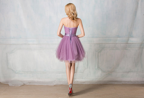 Sweetheart strapless cocktail-length tulle bridesmaid dress