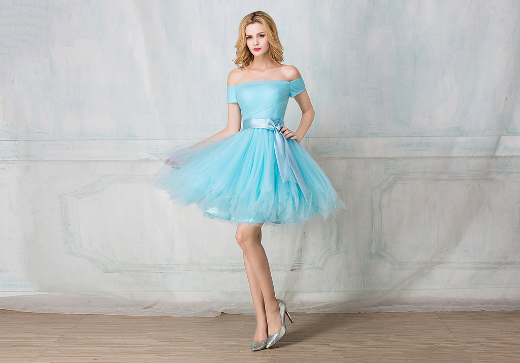 Off-shoulder cocktail-length tulle bridesmaid dress