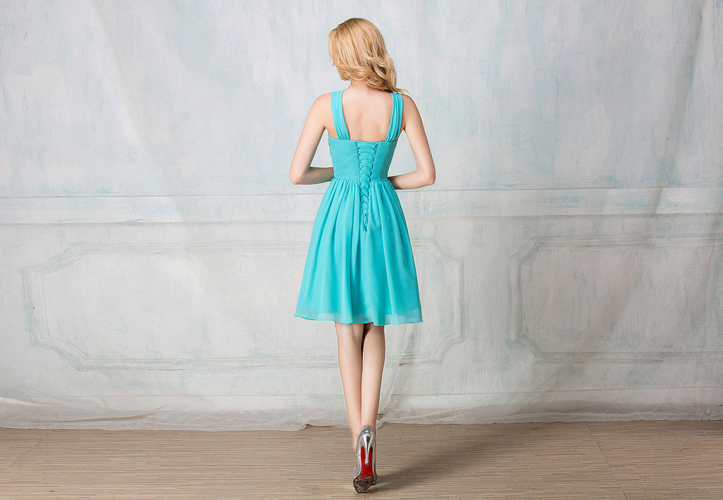 Twisted haltered cocktail-length chiffon bridesmaid dress