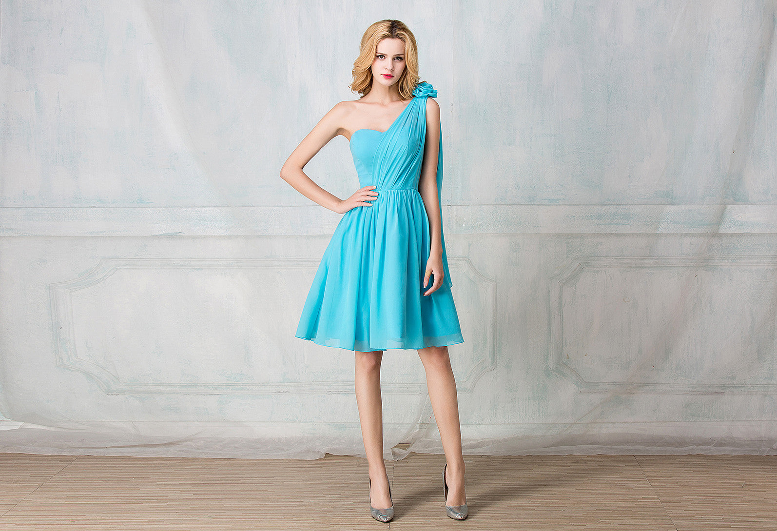 One shoulder cocktail length chiffon bridesmaid dress one shoulder cocktail length chiffon bridesmaid dress ombrellifo Gallery