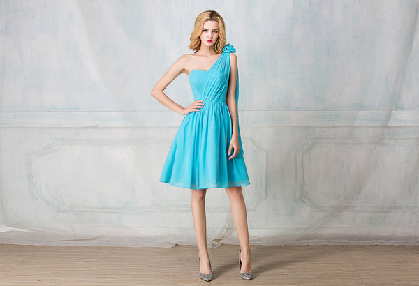 One-shoulder cocktail-length chiffon bridesmaid dress