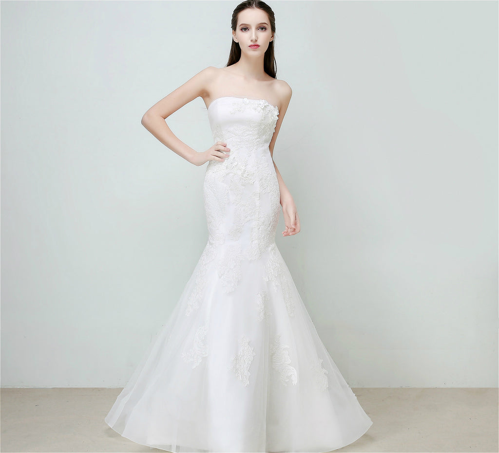Selena Huan Beaded Lace Strapless Mermaid Gown