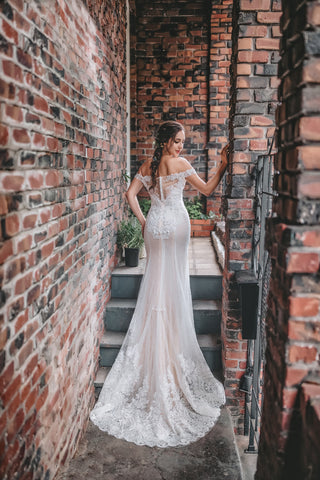 Leilah - Selena Huan off-the-shoulder frosted Alençon lace illusive back mermaid gown