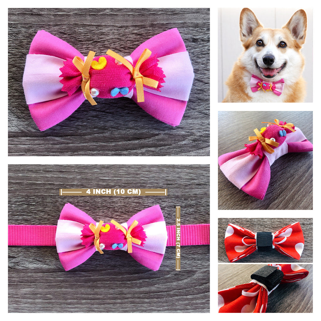 Pink-Dream Sweet-Candy Dog Collar Bow Tie - Baby Pink Orange Dog Bow