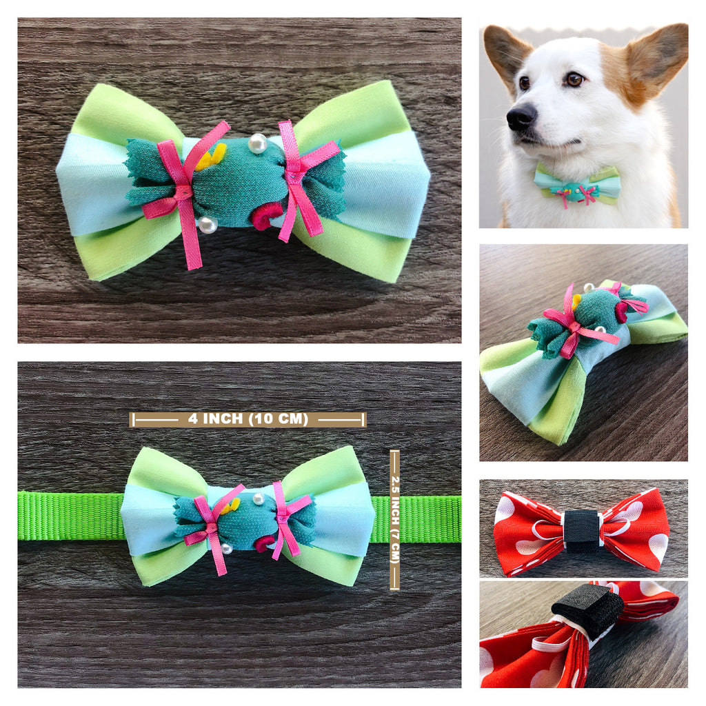 Mint Sweet-Candy Dog Collar Bow Tie - Mint Green Blue Dog Bow