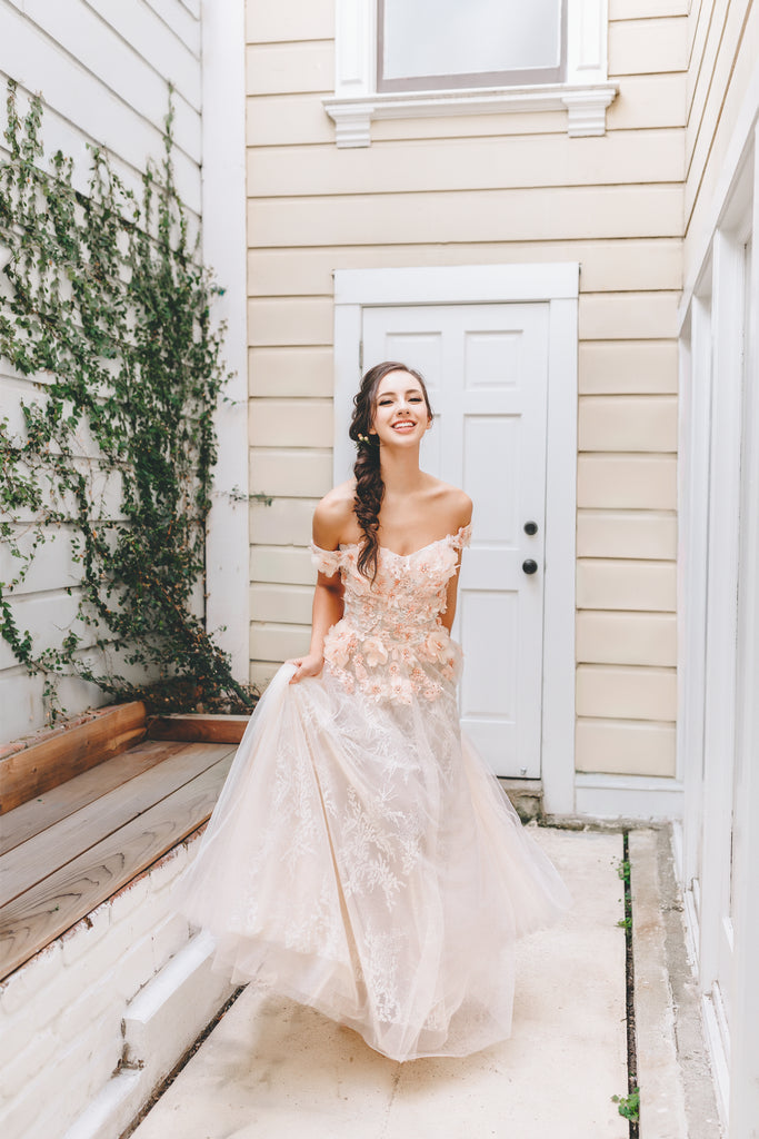 Rubi - Selena Huan 3D Apricot pink floral lace off-the-shoulder A-line gown
