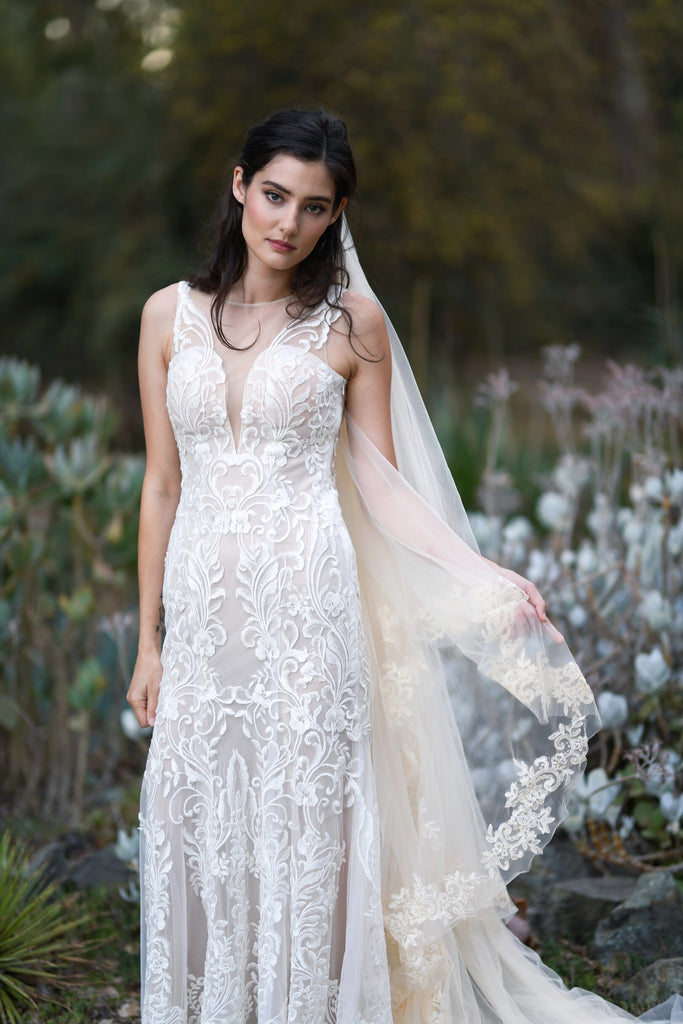 Lorelei - Selena Huan sequins embroidery Israel lace illusive back fit-and-flare gown