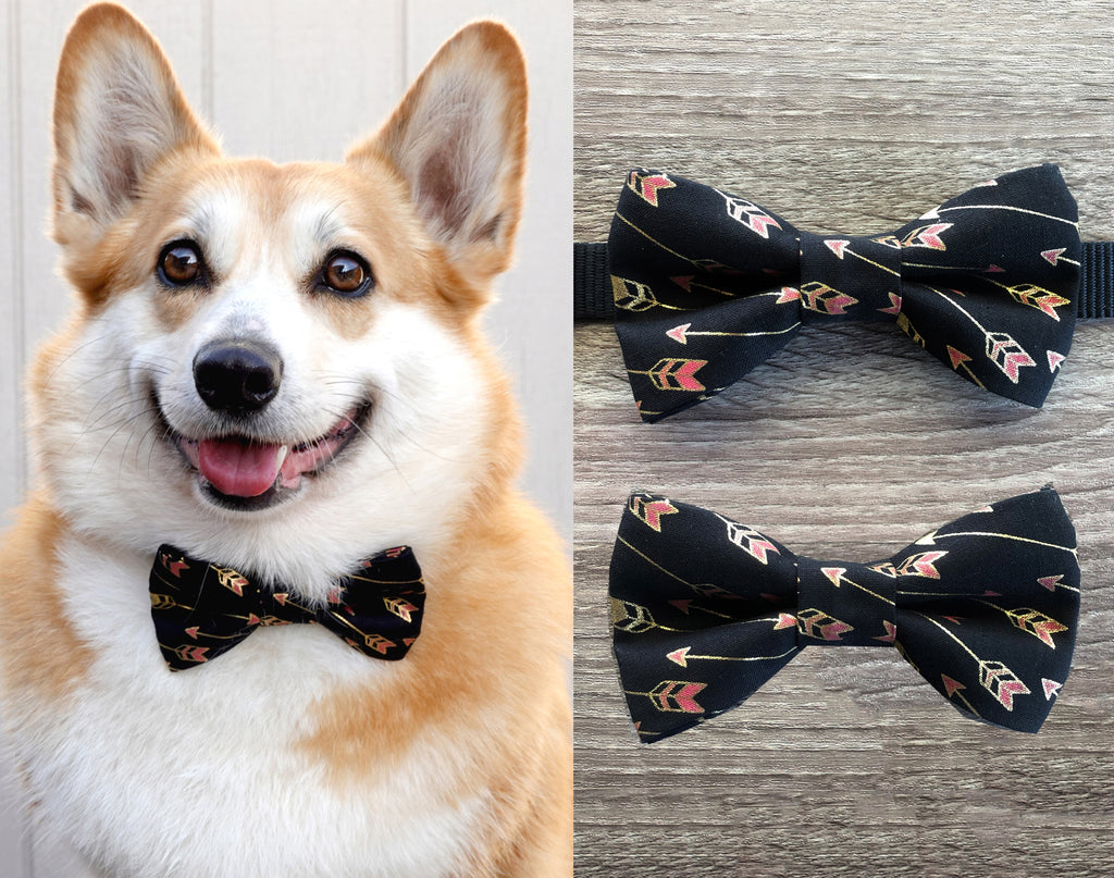 Black Arrow Dog Collar Bow Tie - Gentleman Dog Bow