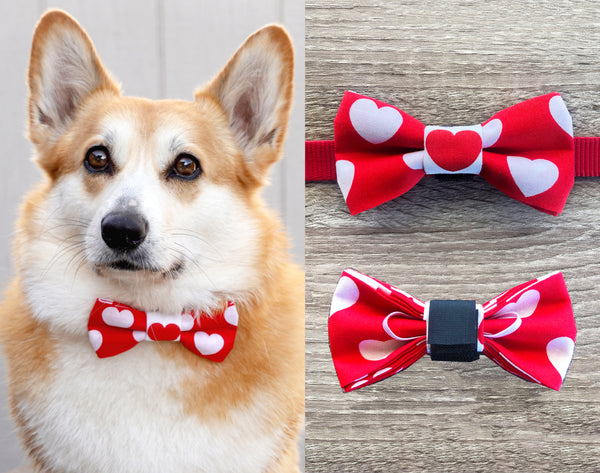 White Heart Red Dog Collar Bow Tie - Holiday Celebration Dog Bow