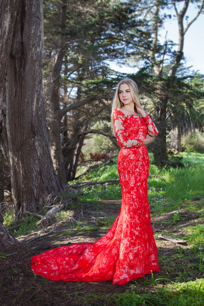 Coronation - Selena Huan Red Lace Long-sleeves Mermaid Gown