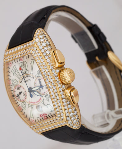 MINT Franck Muller KING D Conquistador 18K Rose Gold Diamond 46mm Watch 8005 CC