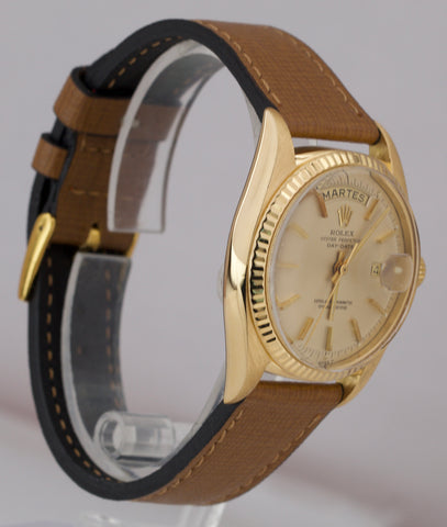 1970 Rolex Day-Date President Champagne Pie Pan 36mm 18K Yellow Gold Watch 1803