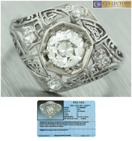 Ladies Antique Art Deco Platinum Filigree 1.18ctw Diamond Engagement Ring EGL