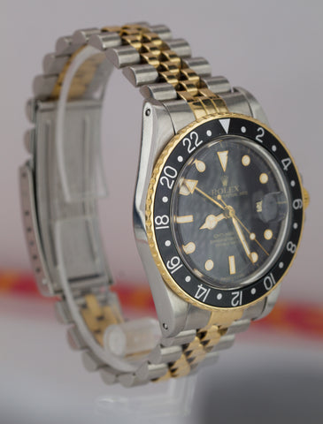 Vintage 1987 Rolex GMT-Master Black GLOSSY 16753 18K Two Tone Jubilee Watch