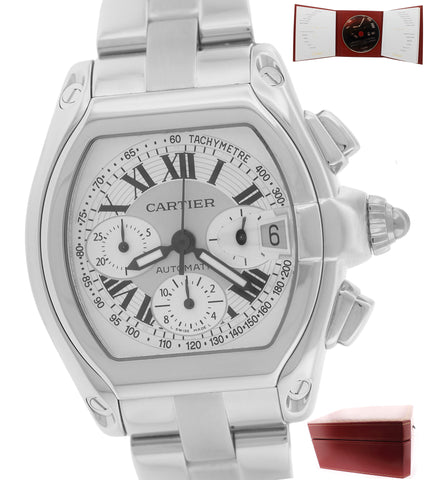 Men's Cartier Roadster XL Silver Stainless Chronograph 2618 W62019X6 Watch