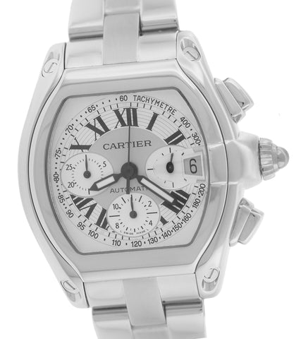 MINT Men's Cartier Roadster XL Stainless Silver Chronograph W62019X6 2618 Watch
