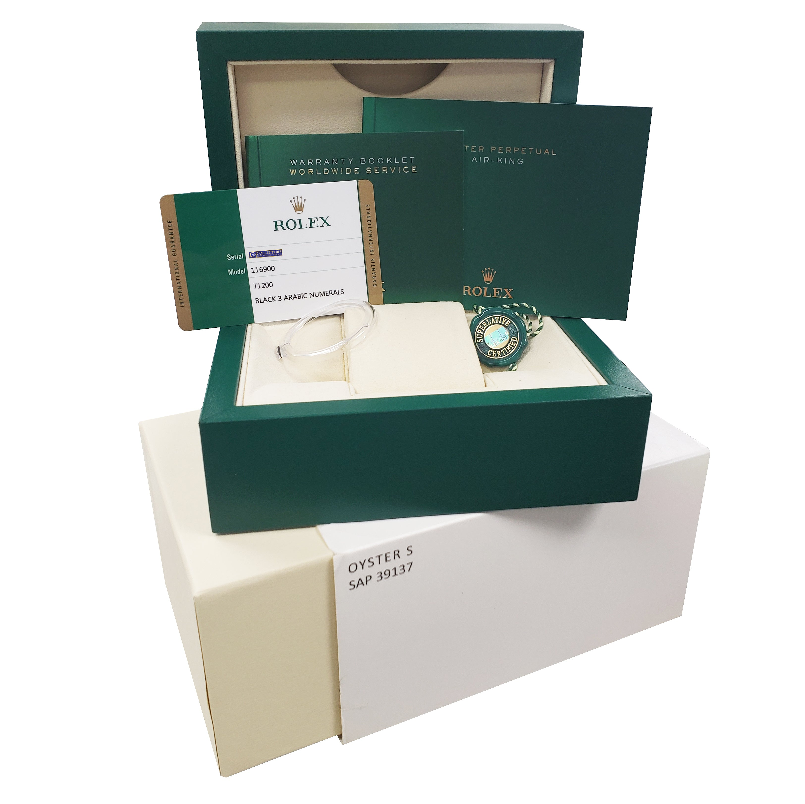 2018 Rolex Air-King 40mm Green Yellow Black Arabic Stainless Steel Watch 116900