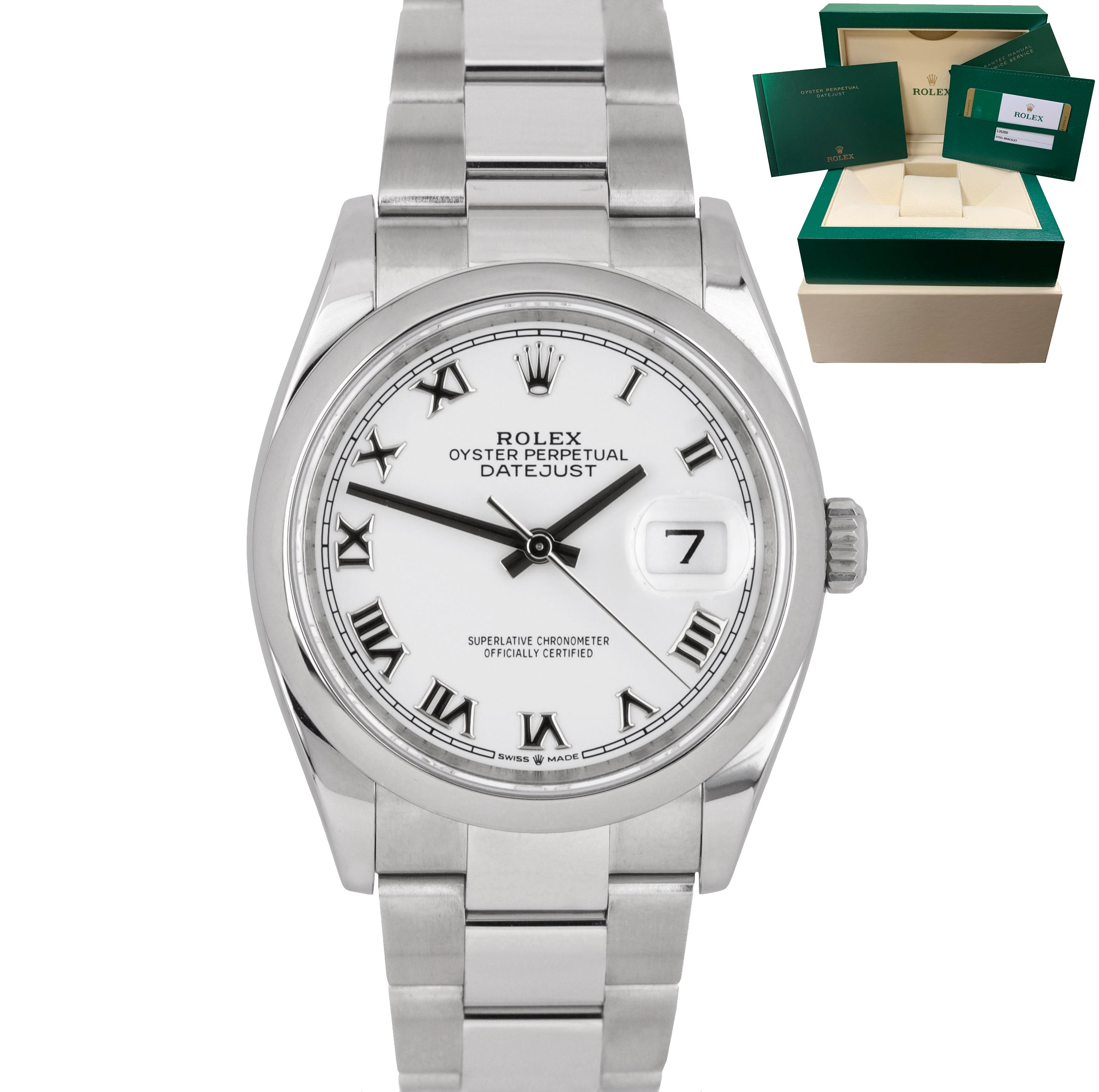 2019 MINT Rolex DateJust 126200 36mm White Roman Stainless Steel Oyster Watch